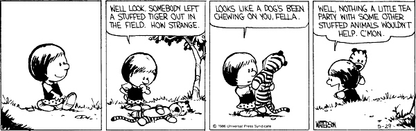 9. When a big dog stole Hobbes, and Susie found him.