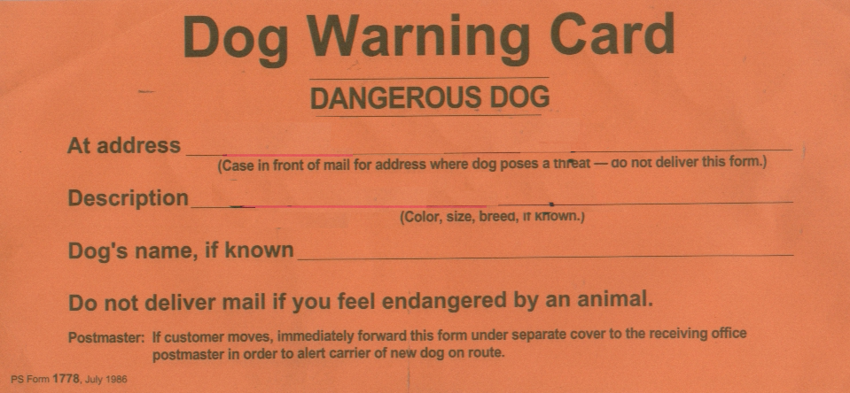 Bad dog warning card